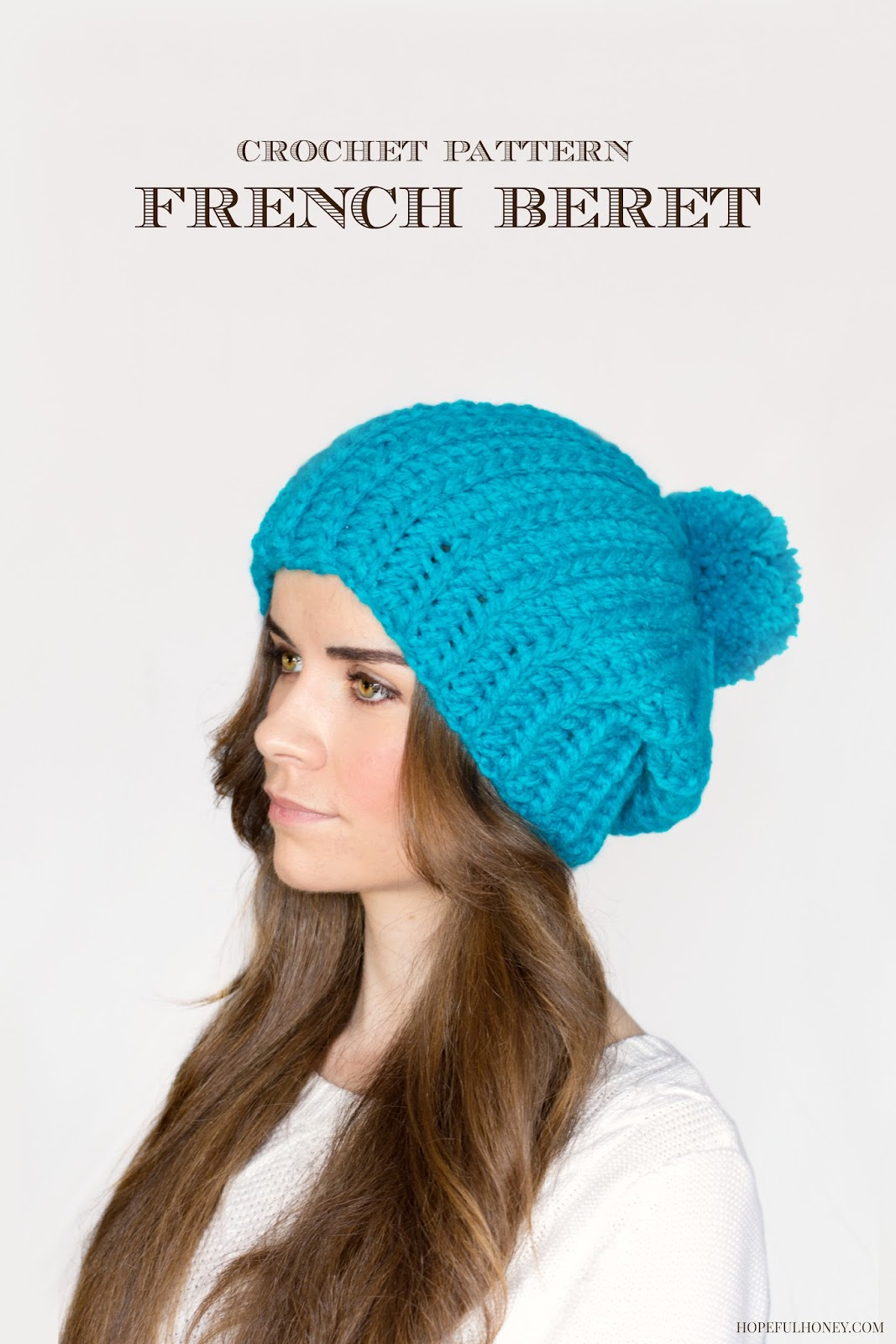 French Crochet Patterns : ... Honey Craft, Crochet, Create: French Pompom Beret Crochet Pattern