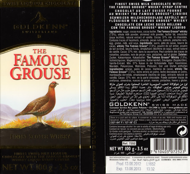 tablette de chocolat lait fourré goldkenn scotch whisky the famous grouse