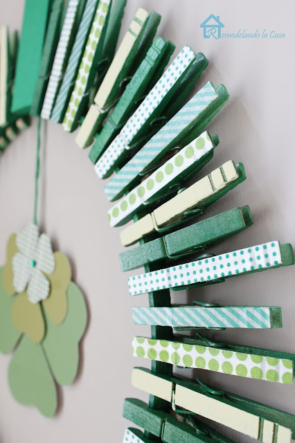 shamrocks, clothespins and tape for saint patrick's day wreath