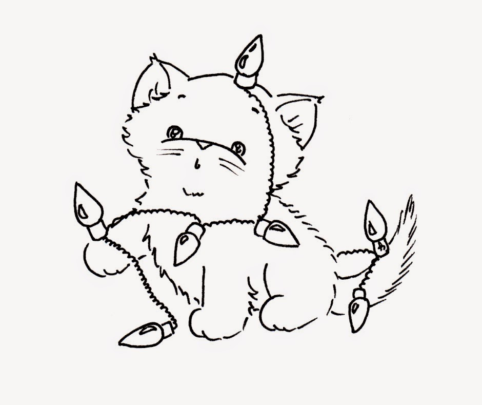 christmas kittens coloring pages - photo#14