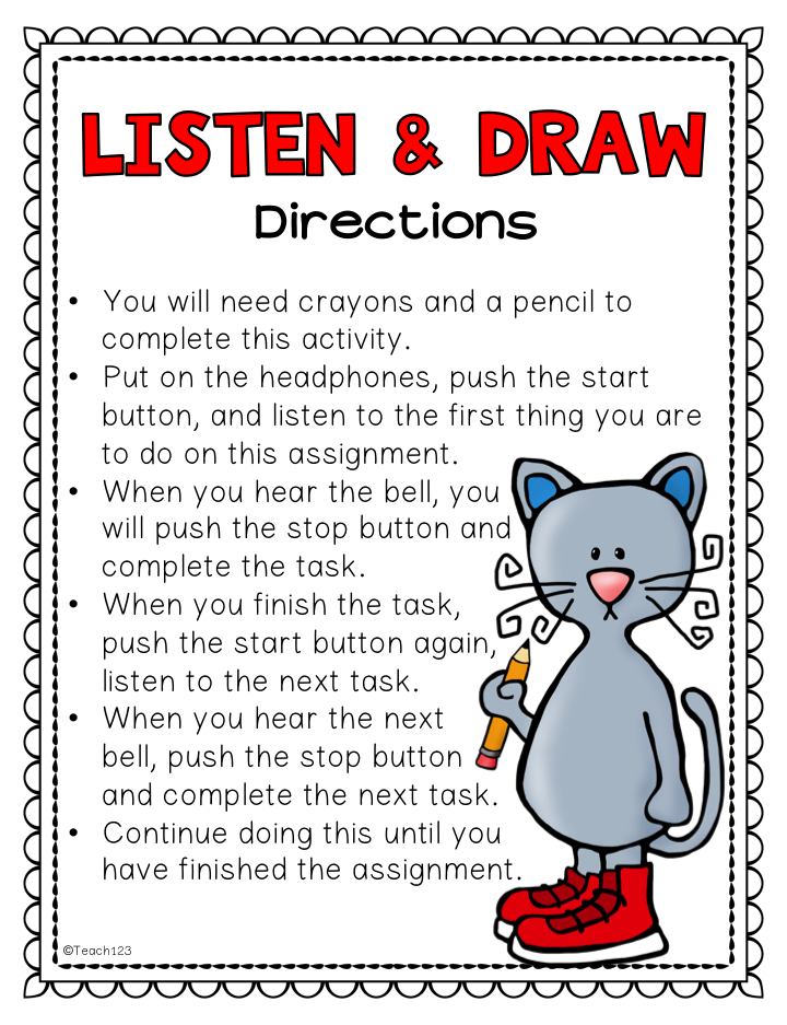 Listening Skills: Listen & Draw, E.S.L., Sub Plans, Inside Recess ...