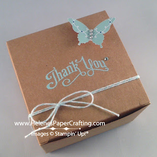 small box stamped with thank you and butterfly on top