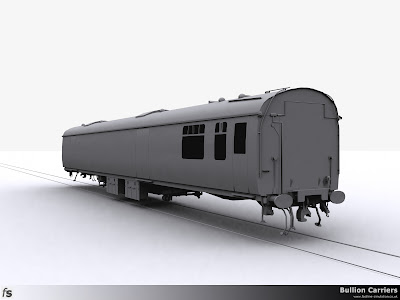 Fastline Simulation - Bullion Carriers: An in development render of the NWX Bullion Van for Train Simulator 2013. The left hand side viewed from the saloon end showing the completed underframe equipment.