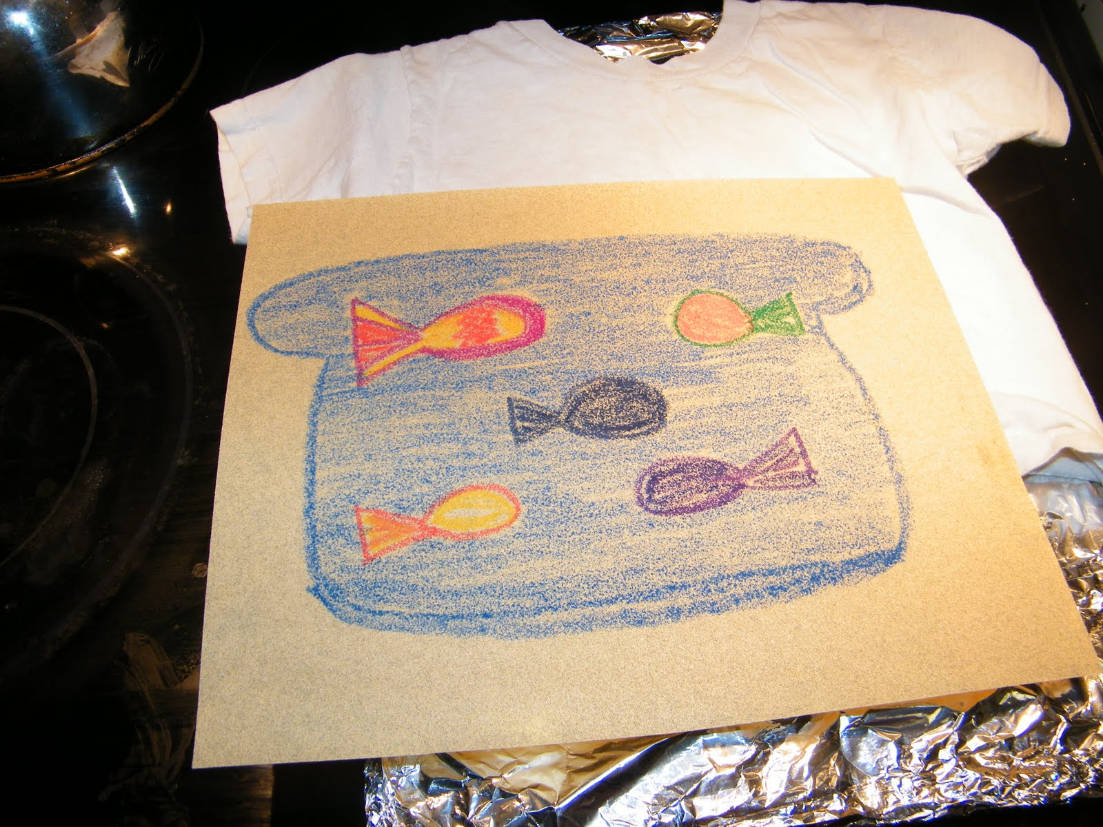 Design your own t-shirt iron on - All You Need Is Crayons T Shirts Sand Paper We Used Fine Grit 150 180 Foil Cardboard And An Iron First Color Your Design On