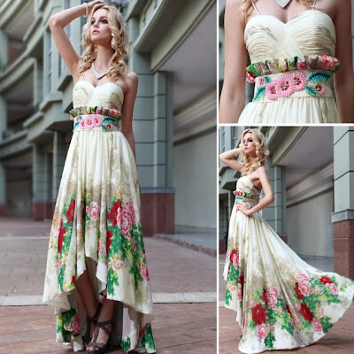 Print Sweethearth Asymmetric Floor Length Dress