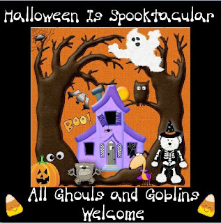 Halloween Spooktacular badge with cute goblins