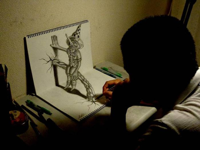 20-year-old student of architecture department of Syria Muhammad Ejleh in their leisure time creates amazing three-dimensional drawings. His work is so skillfully executed that it's hard to believe that there is not used any photo manipulation. Using only a pencil and paper, Ejleh masterfully creates the impression of depth and texture in each image. On one picture can take up to 8 hours of operation.