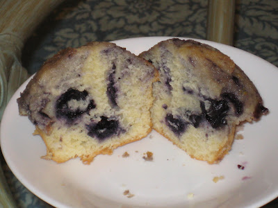 jam-filled blueberry muffin split open