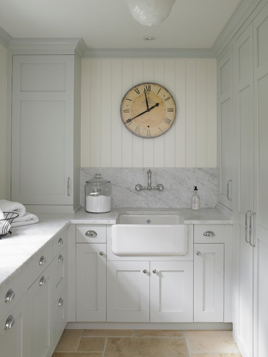 Coastal style laundry inspiration for Farmhouse sink for laundry room