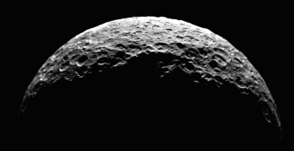 A processed still image with Ceres as a crescent. Credit: NASA/JPL-Caltech/UCLA/MPS/DLR/IDA