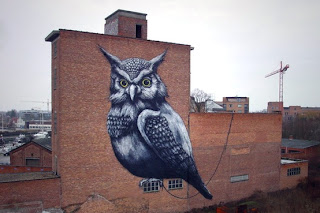 Owl Mural Black and White Painting