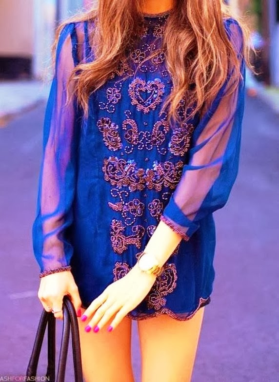 Gorgeous embroidered navy lace dress fashion