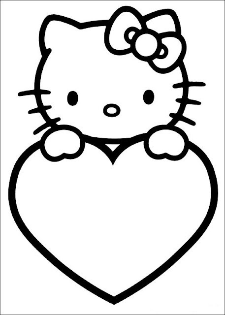 Valentine Hello Kitty Coloring Pages