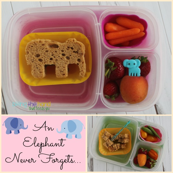 Simple elephant & sandwich bites (from the scraps) in EasyLunchboxes