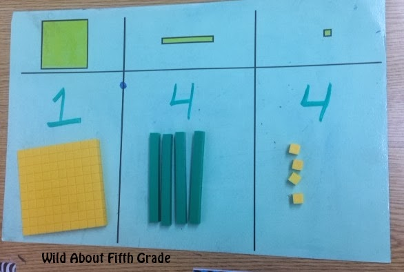 using base 10 blocks to show decimal place value