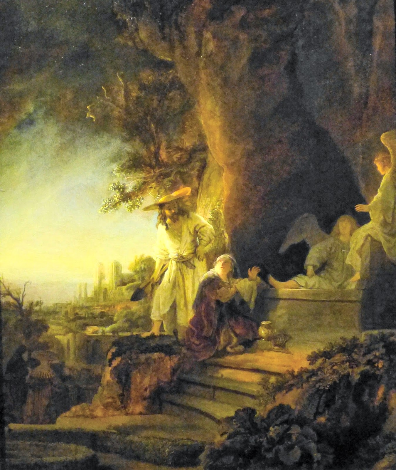Christ and St Mary Magdalen at the Tomb  by Rembrandt van Rijn (1638)