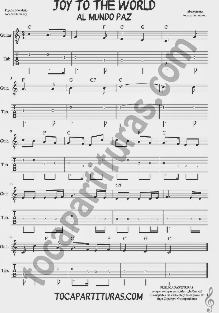 Tubescore Joy to the World Tablature Sheet Music for Guitar Christmas Carol