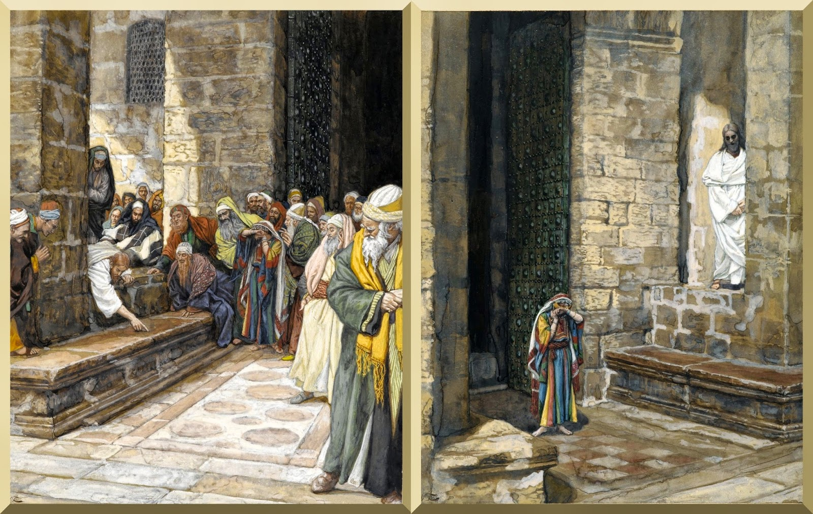 """The Adulterous Woman--Christ Writing upon the Ground"" (left) and ""The Adulterous Woman Alone with Jesus"" (right) -- by James Tissot"