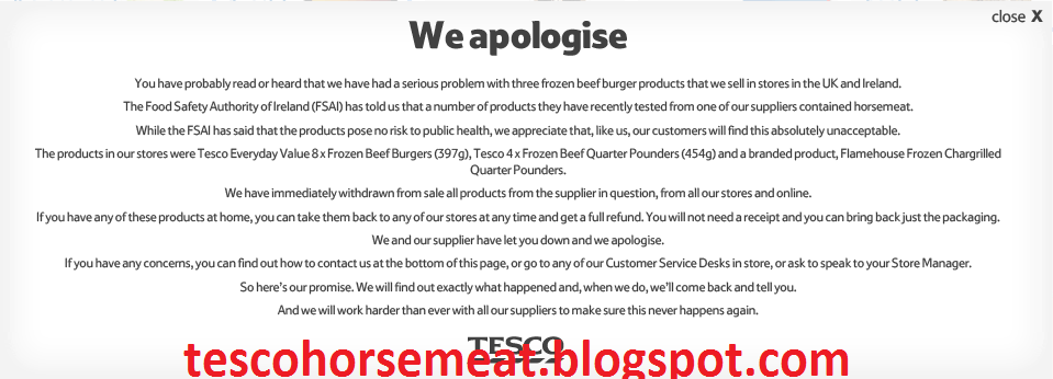 tesco s horsemeat scandal The weekend digested: tesco's positive prospects, horsemeat scandal returns and sugar tax stats the news, reviews and trends from april 7-8 9 april 2018.