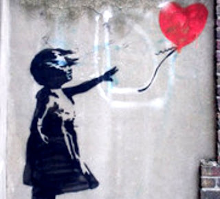 limitações-Grafite de garota soltando balão