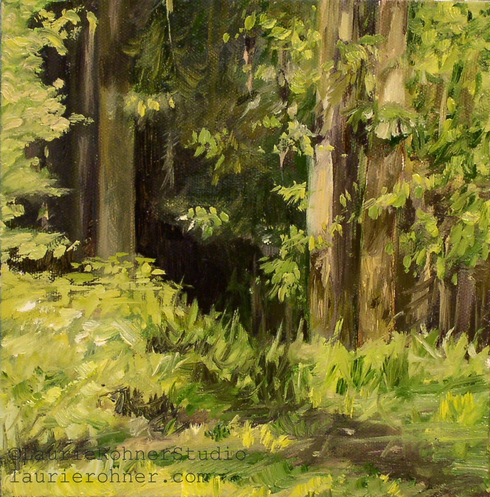 LAURIE ROHNER STUDIO WOODLAND FOREST LANDSCAPE OIL PAINTING FAIRY