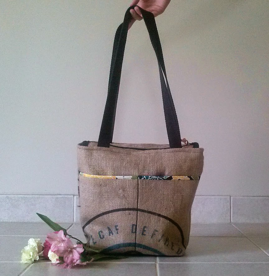 Water Bag - linaandvi.blogspot.com - burlap Grounds bag - Plymouth MI