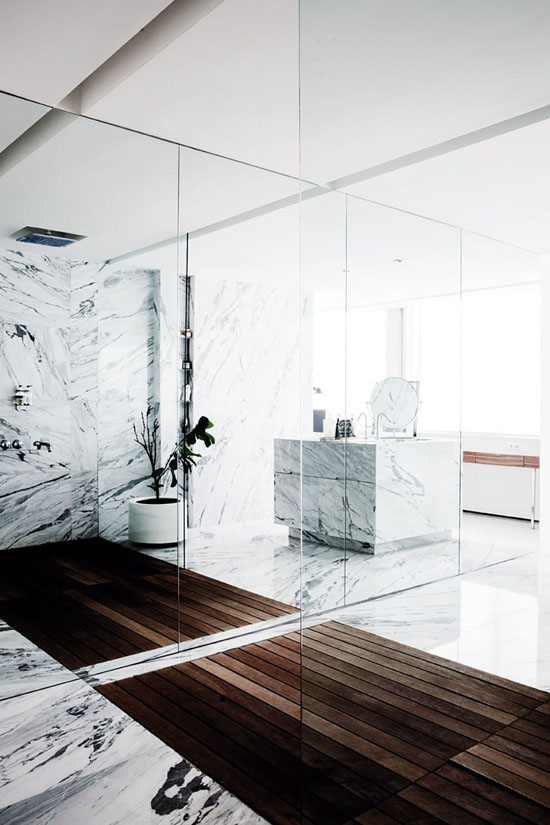 Impressive marble and wood combination in the house of Merve and Sefer Caglar in Istanbul via Milk Magazine (found via coco lapine design).