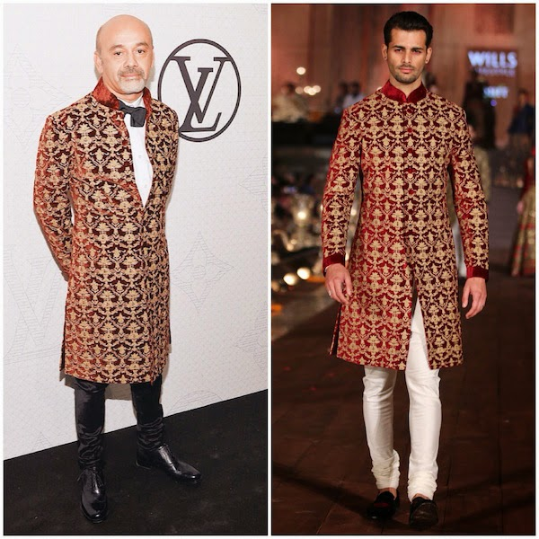 Christian Louboutin wears Rohit Bal Gold and wine velvet sherwani coat with all over embroidery at Louis Vuitton Iconoclast launch 7th November 2014 New York City