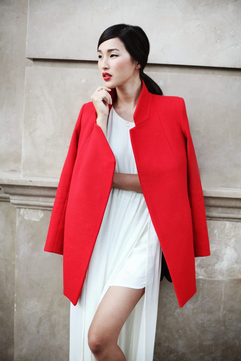 gary pepper girl, nicole warne, red coat, nicholas coat, structured coat, colorful winter coat