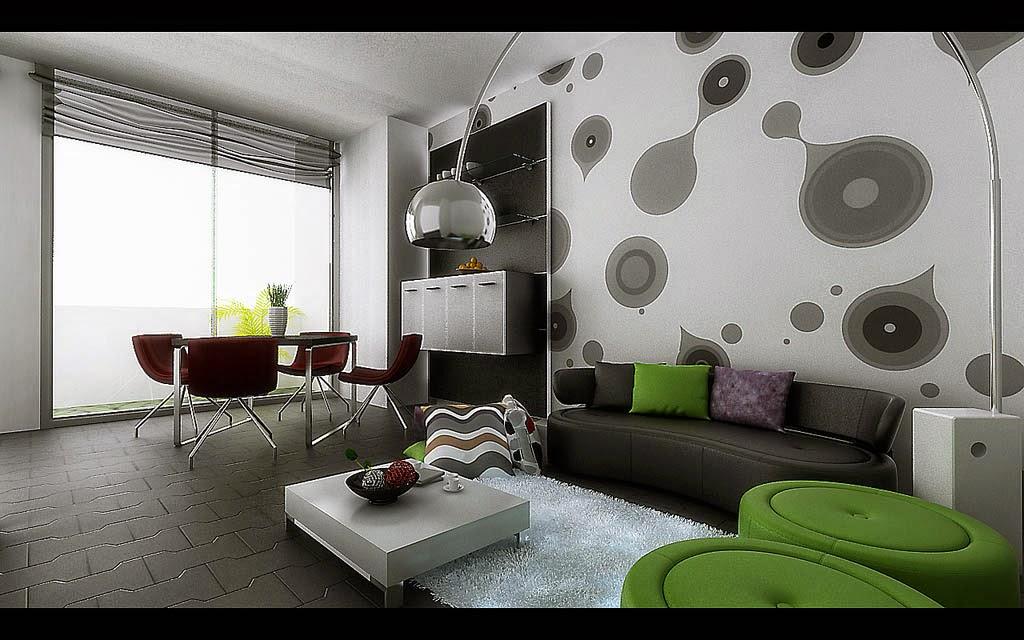Contoh interior wallpaper ruang keluarga