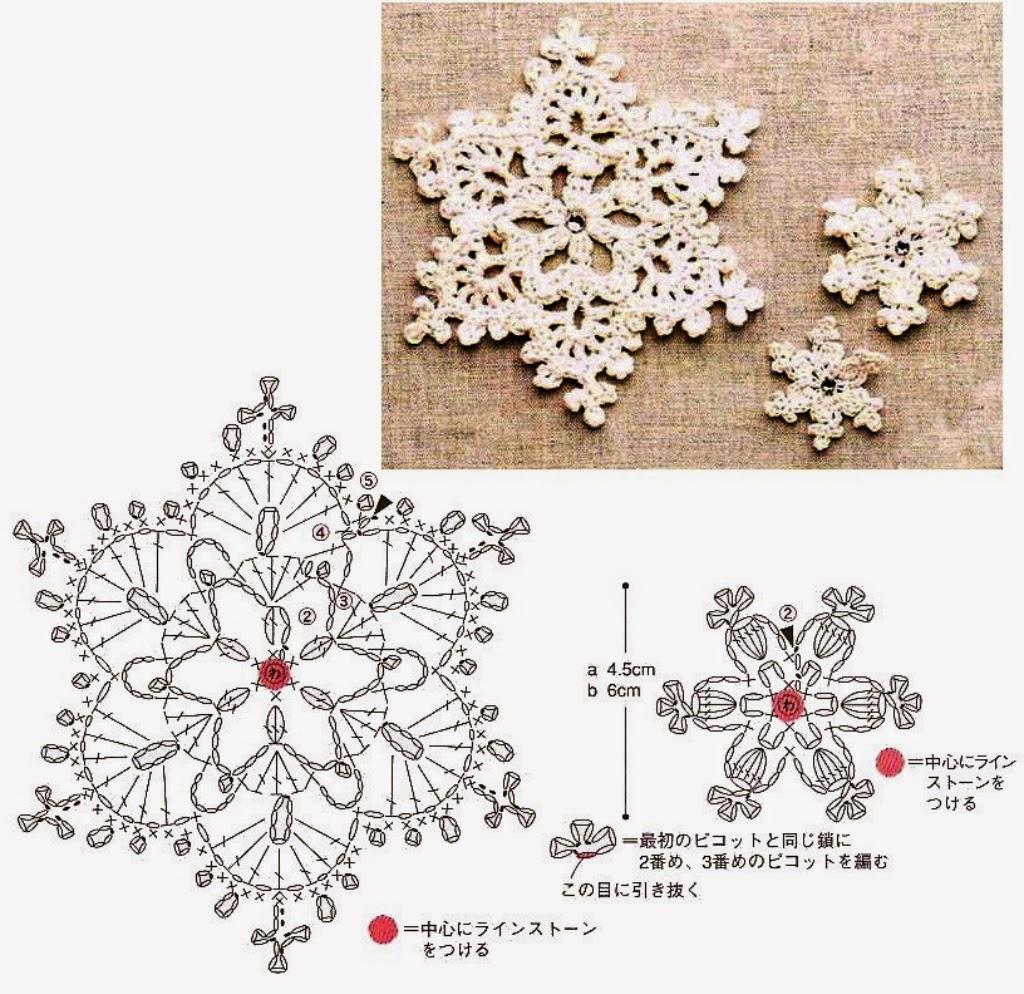 Снежинки крючком схемы с описанием мастер класс