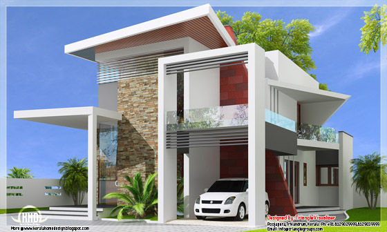 Luxurious trendy house side elevation