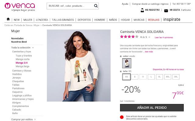 """Camiseta solidaria VENCA """"Por Ser Niña"""""""