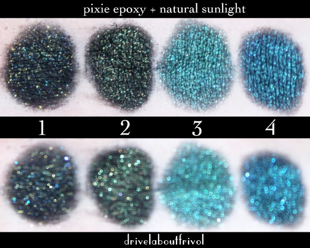 Fyrinnae eyeshadow swatches over Pixie Epoxy 1. Raven's Prophecy* 2. Dokkalfar 3. Jaguar 4. Sorceress*