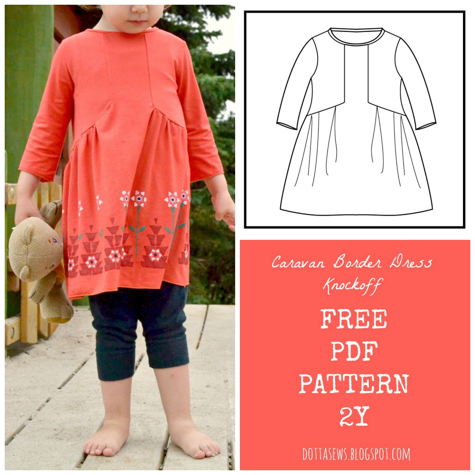 Caravan Border Dress Knockoff FREE PDF Pattern