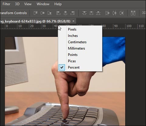 Set Rulers to percent in Adobe Photoshop