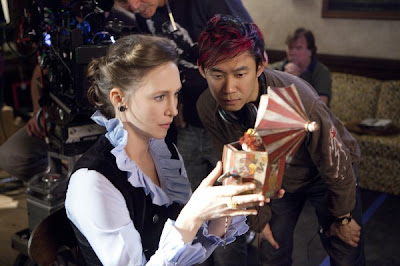 Photo of Vera Farmiga and James Wan on the set of The Conjuring