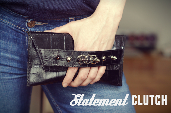 From old Rocker bracelet to trendy statement clutch. Revamped and photographed by Xenia Kuhn for fashionrolla.com