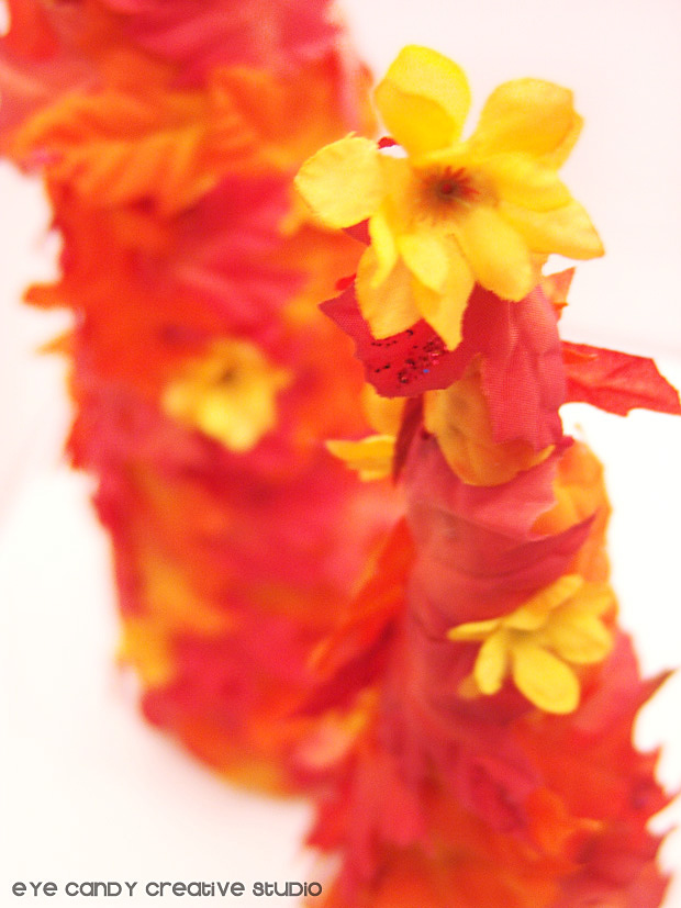 adding flowers to fall leaf tree, fall flowers, how to make a fall leaf tree