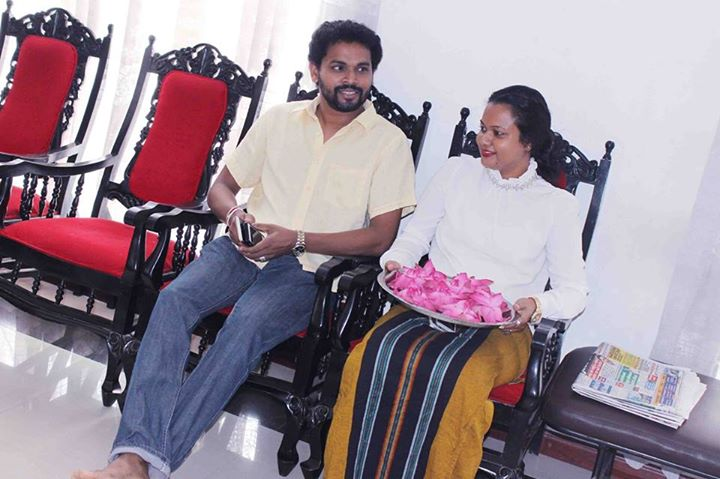 flying fish film actress Gayesha Perera with husband Hansajith