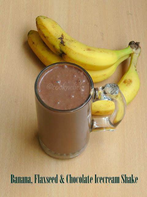 Chocolate icecream, banana, flaxseed shake