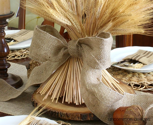 wheat and burlap bow centerpiece