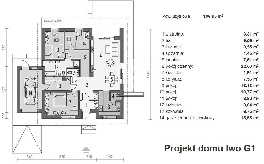 Projekt domu Iwo G1