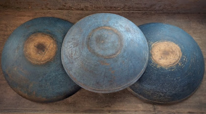 Vintage Wood Bowls, New Blue Paint