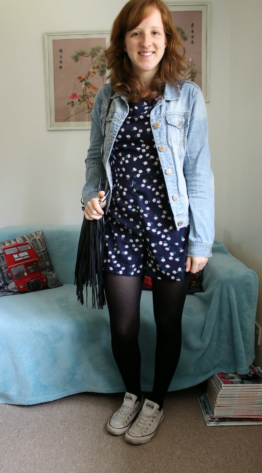 Outfit of the day Daisy Playsuit Denim Jacket and Converse