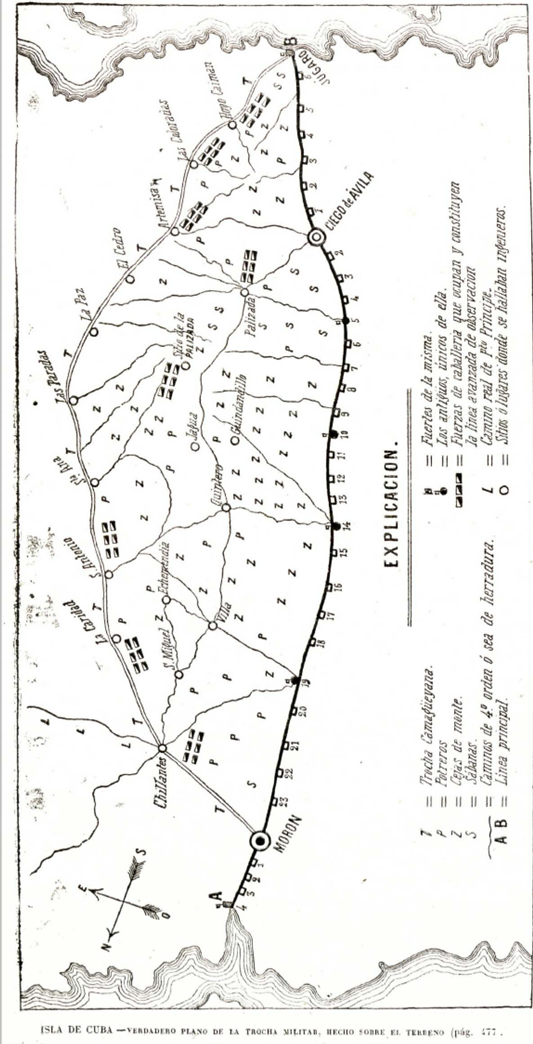 Último mapa trocha Júcaro-Morón