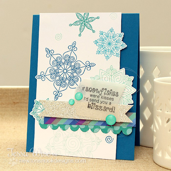 Snowflake Card by Tessa Wise for Newton's Nook Designs | Beautiful Blizzard Stamp Set