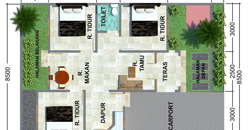 contoh denah rumah minimalis type 60 dengan kamar 3