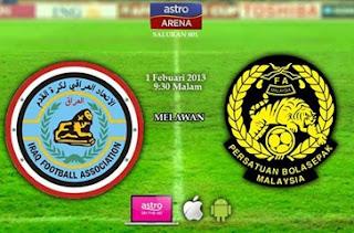 live streaming malaysia vs iraq 2013, perlawanan persahabatan malaysia iraq 1 feb 2013, malaysia vs iraq, piala asia 2015, tonton online malaysia iraq 2013