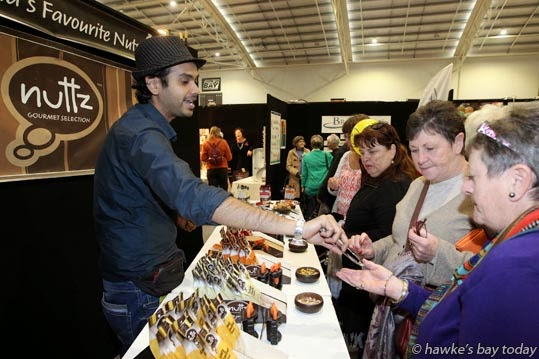 Ani Ganguli, promoting Nuttz Gourmet Selection, Napier, at the Hawke's Bay Better Home & Living Show, Pettigrew.Green Arena, Taradale, Napier. photograph